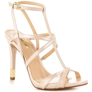 Guess nude cage stiletto heels 6.5